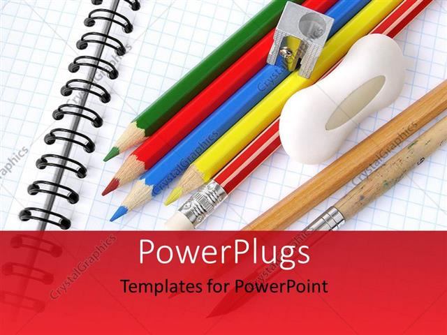 PowerPoint Template Displaying Colored Pencils Sharpener and Eraser on Notepad