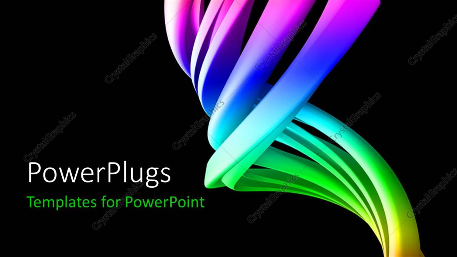 PowerPoint Template Displaying Colorful Abstract 3D Curves with Black Color