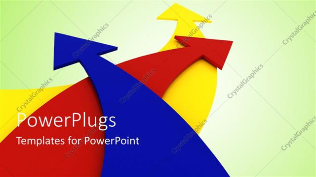 PowerPoint Template Displaying a Number of Colorful Arrows with Greenish Background