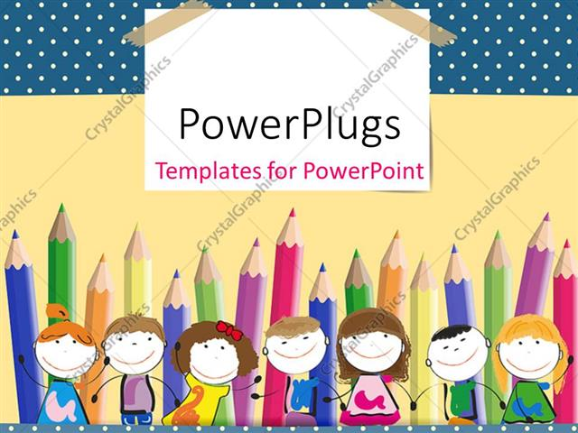 Powerpoint template colorful crayons in background with happy kids powerpoint template displaying colorful crayons in background with happy kids lined up toneelgroepblik Image collections