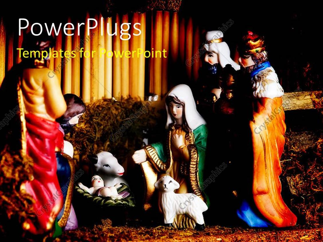 PowerPoint Template Displaying Colorful Depiction of Jesus Christ's Birth in Manger