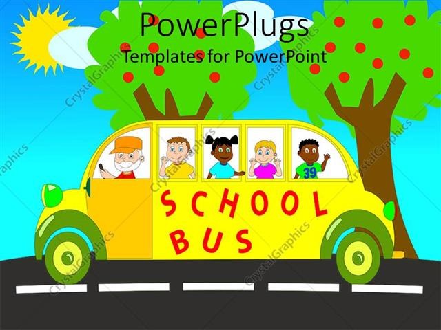 Powerpoint template colorful design of yellow school bus with powerpoint template displaying colorful design of yellow school bus with happy pupil kids and smiling bus toneelgroepblik Images