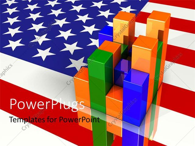 powerpoint template colorful financial bar chart over american flag