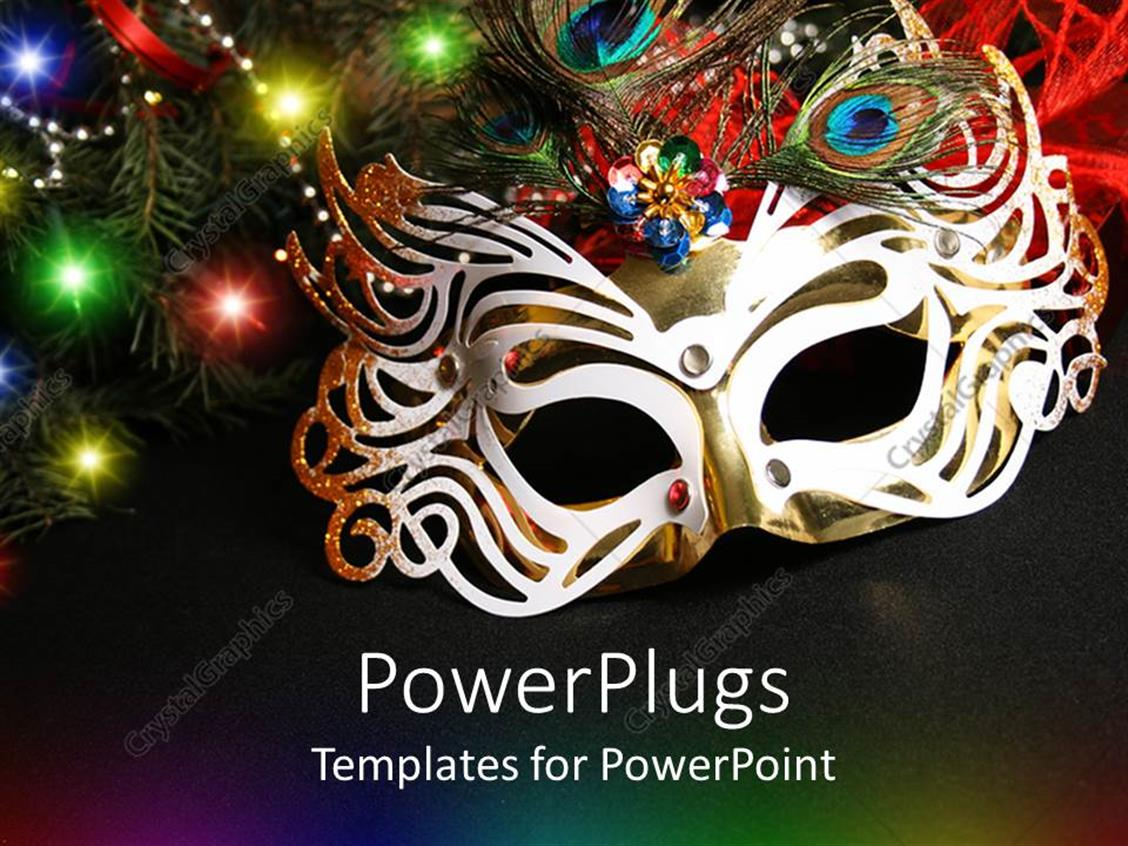 masquerade ball masks templates - powerpoint template colorful masquerade mask surrounded