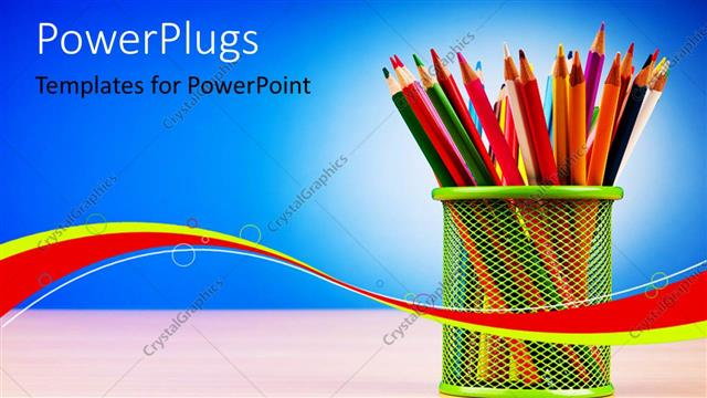 PowerPoint Template Displaying Colorful Pencils Arranged in Basket on Desk