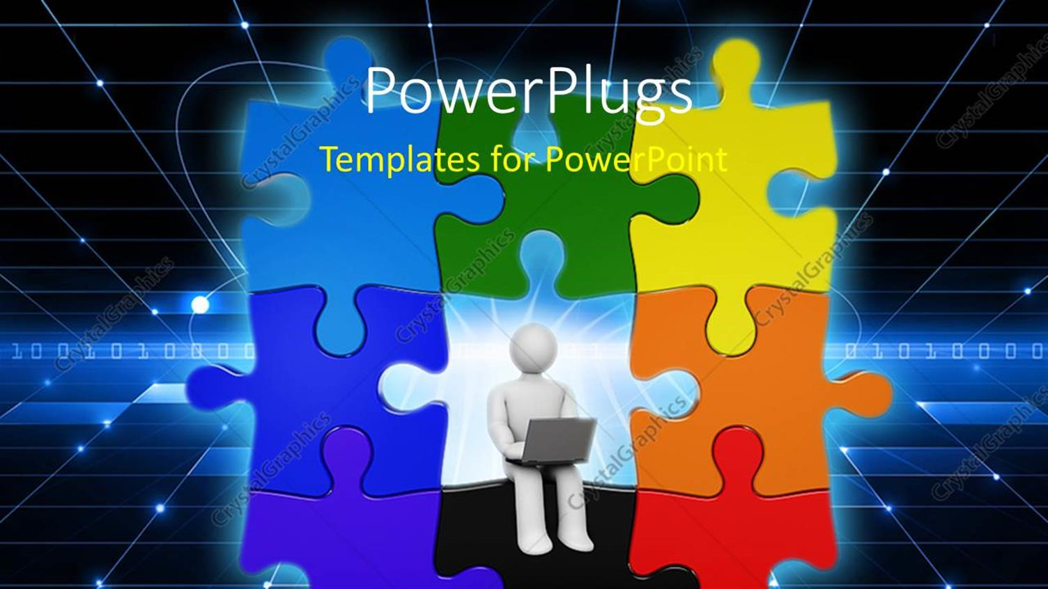 PowerPoint Template Displaying Colorful Puzzle with Figure Working on Laptop in Dark Background