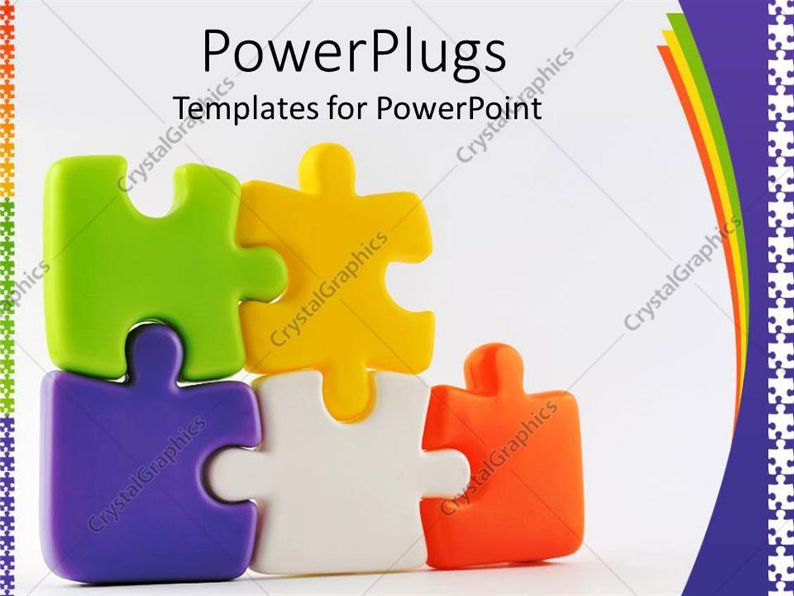 PowerPoint Template: Colorful puzzle pieces (7708)