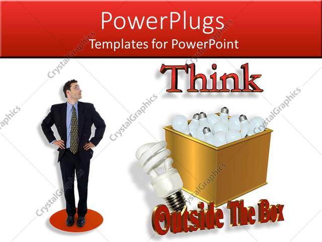 PowerPoint Template Displaying Compact Fluorescent Light Bulb Next to Gold Box of Incandecents