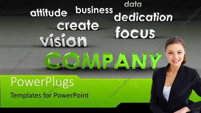 PowerPoint Template Displaying Young Business Professional with Company Success Ingredients on Grey Background