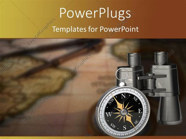 PowerPoint Template Displaying Compass Beside Pair of Binoculars on Blurred World Map