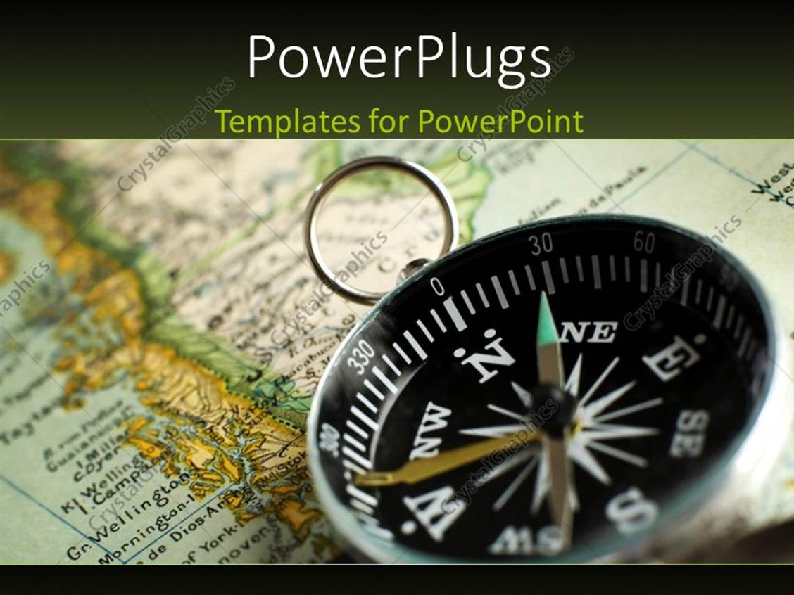 PowerPoint Template Displaying a Compass with a Map in the Background