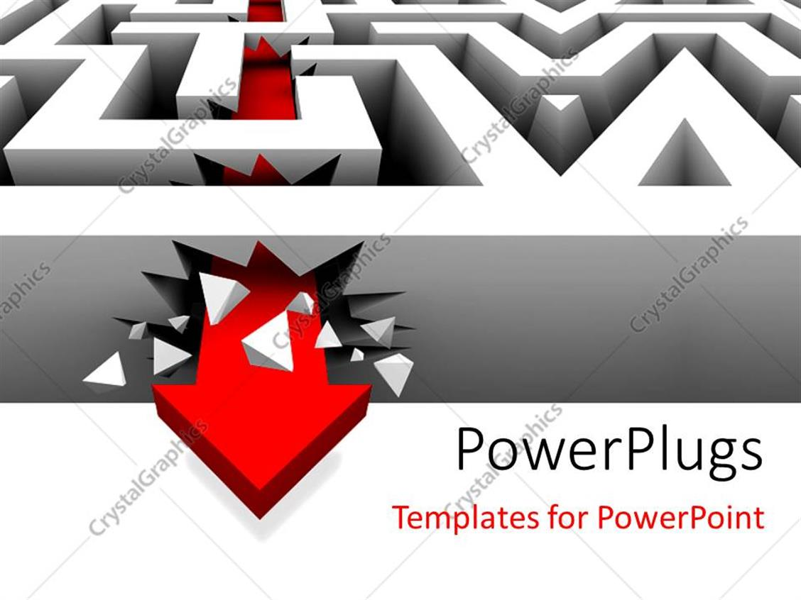 PowerPoint Template Displaying a Complex Maze with an Arrow Through it