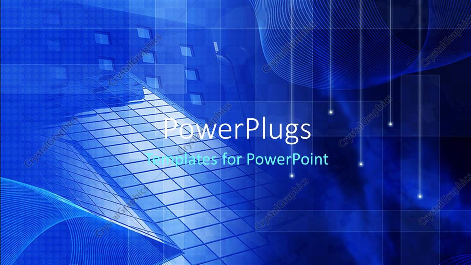 PowerPoint Template Displaying a Bluish Background with Various Objects
