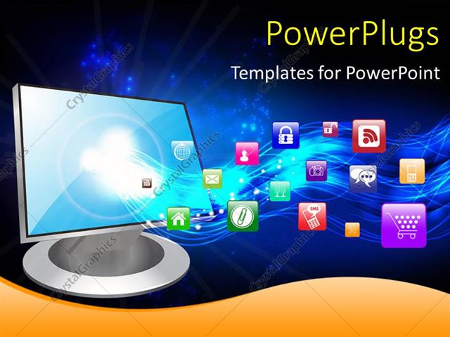 Powerpoint Template A Computer Monitor With Various Apps In The