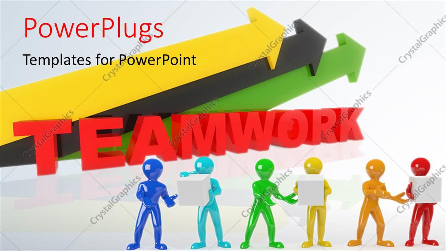 PowerPoint Template Displaying a Number of Colorful Arrows with Greyish Background