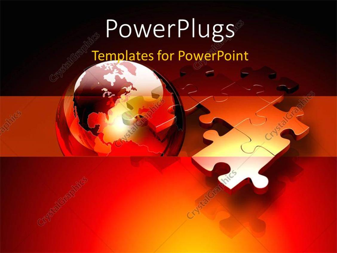 PowerPoint Template Displaying Connected Metallic Puzzle Pieces and 3D Globe Floating Above a Red and Orange
