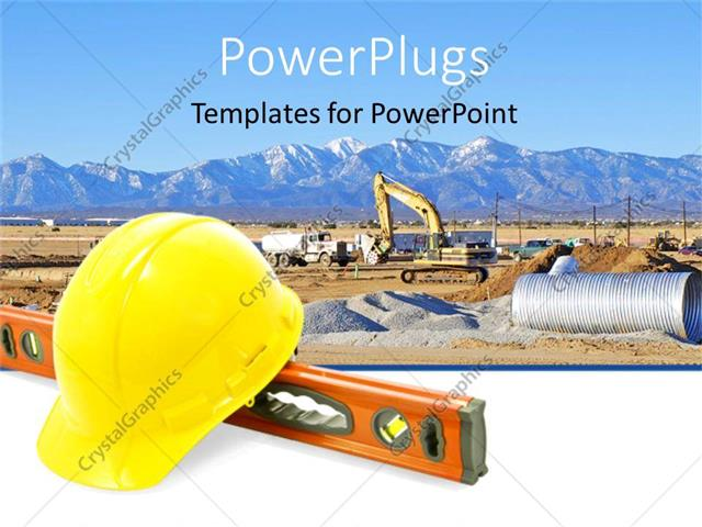 Powerpoint Template Construction Equipment For Work Yellow