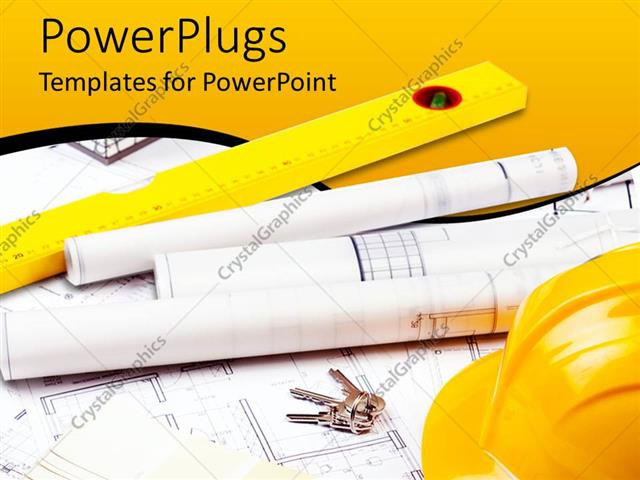 Powerpoint template construction theme with tools yellow hardhat powerpoint template displaying construction theme with tools yellow hardhat and tun ruler blueprint papers and malvernweather Image collections