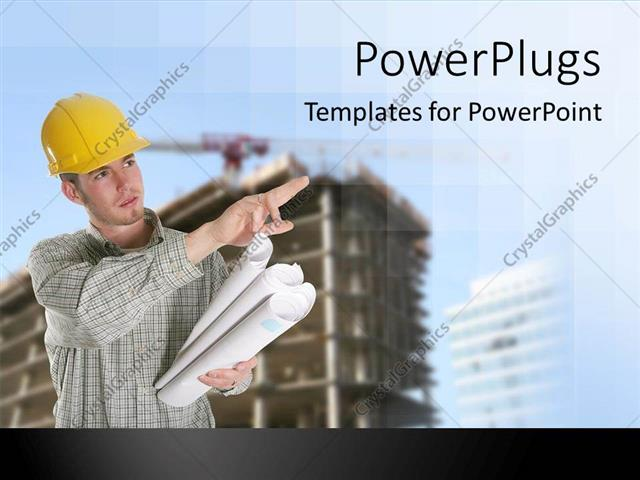 powerpoint template construction worker busy in working with cranes