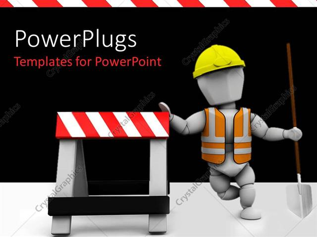 Powerpoint Template Construction Worker In Safety Vest And Hard Hat