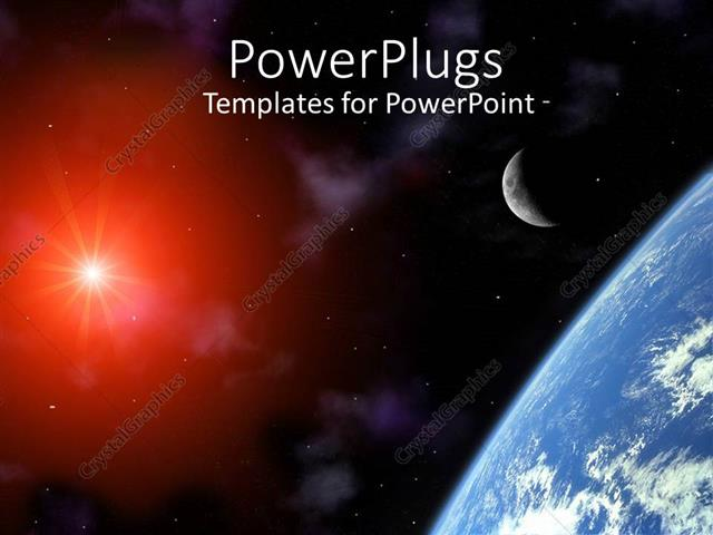 Powerpoint template corner showing a part of planet earth with powerpoint template displaying corner showing a part of planet earth with crescent moon and depiction of toneelgroepblik Images
