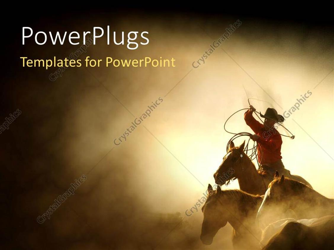 Powerpoint Template A Cowboy On The Horse With Sand In The