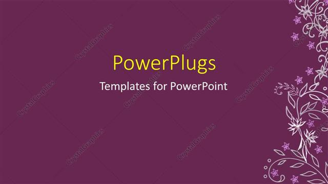 PowerPoint Template Displaying a Plain Purple Colored Background with some Flowery Patterns