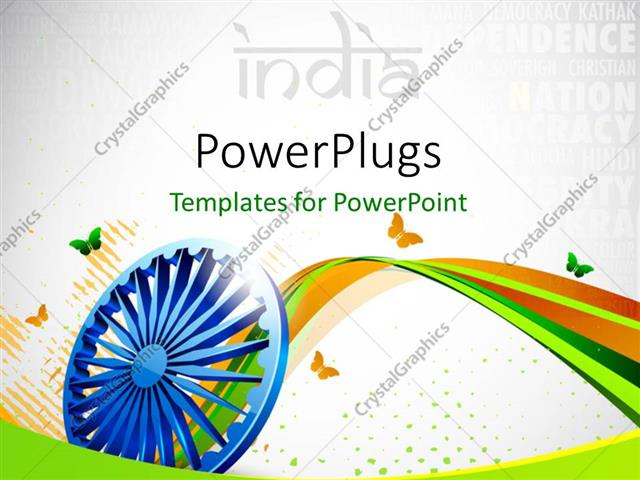 PowerPoint Template: creative background with Indian flag color, 3D ...