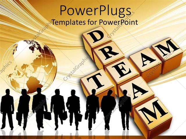 PowerPoint Template Displaying Crossword Dream Team with Group of People Carrying Briefcases and Globe
