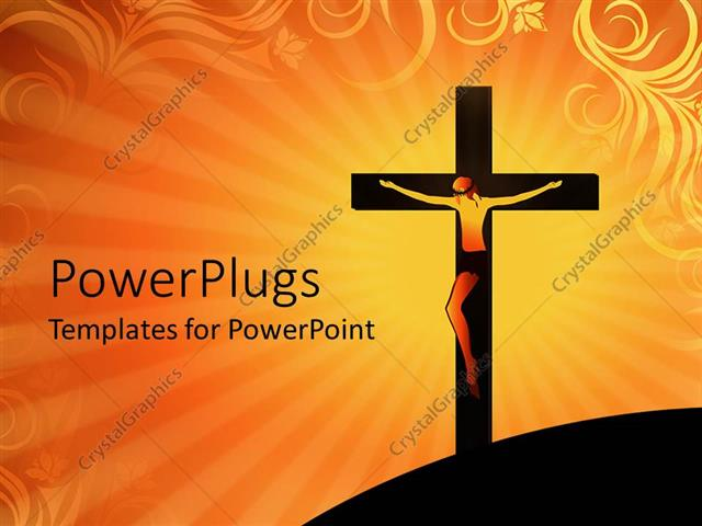 Powerpoint template crucifixion of jesus christ on cross over powerpoint template displaying crucifixion of jesus christ on cross over orange colored background toneelgroepblik Gallery