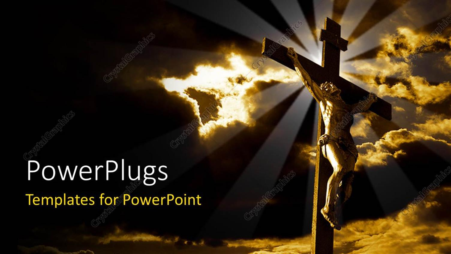 PowerPoint Template Displaying the Crucifixion of Jesus with Clouds in the Background