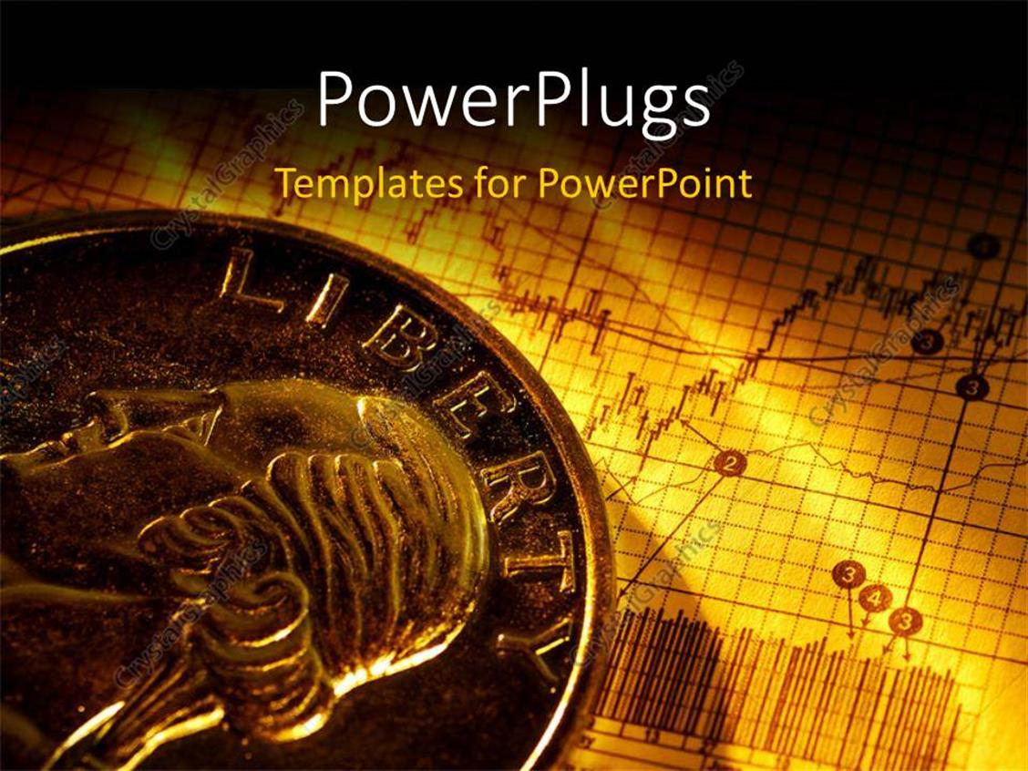 PowerPoint Template Displaying a Currency Coin with a Buisness Related Sheet in the Background