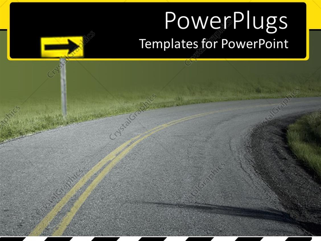 PowerPoint Template: Curved high way with a grass field at the sides ...