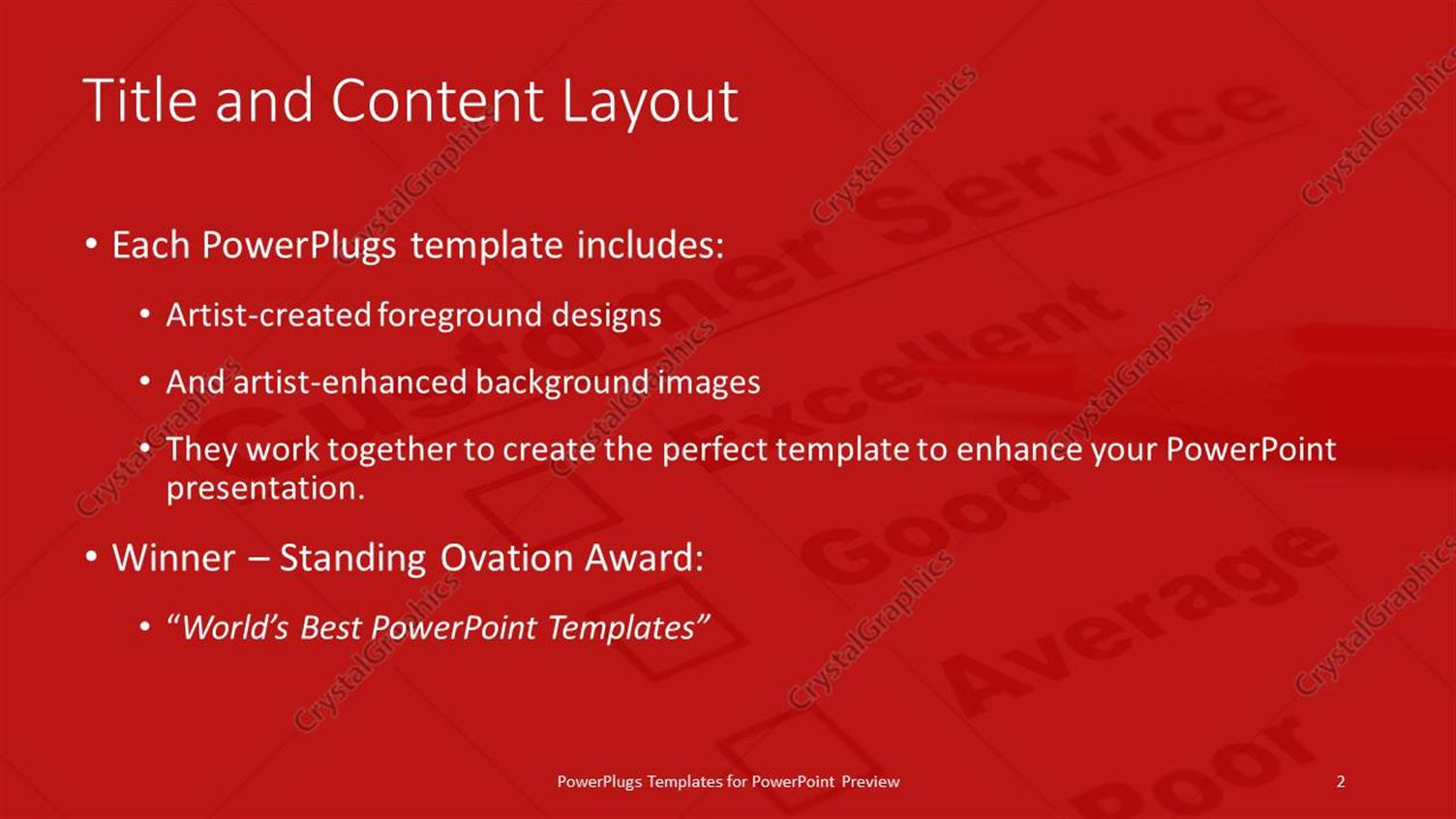 Powerpoint template a color pencil and a customer service powerpoint products templates secure standing ovation award toneelgroepblik Image collections