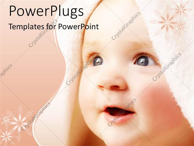 PowerPoint Template Displaying Cute Baby Face Close Up In Peach Background