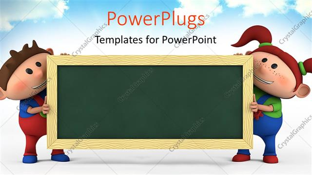 powerpoint template cute cartoon boy and girl with blackboard