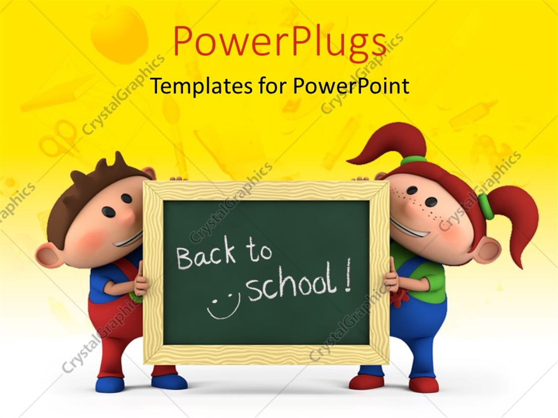 PowerPoint Template Displaying Cute Cartoon Boy and Girl with Holding Chalkboard with 'Back to School' Written and School Items Overlayed on Yellow