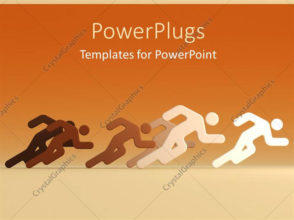 PowerPoint Template Displaying D Characters Running Together on N Orange Background