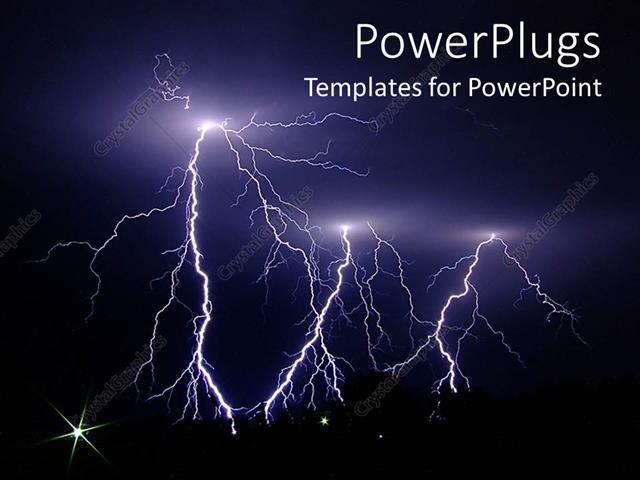powerpoint template dark stormy night lightning strikes 19034
