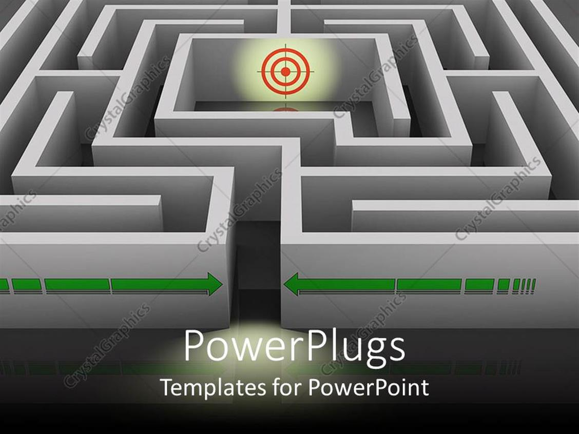 PowerPoint Template Displaying a Dart Board in the Middle of a 3D Labyrinth