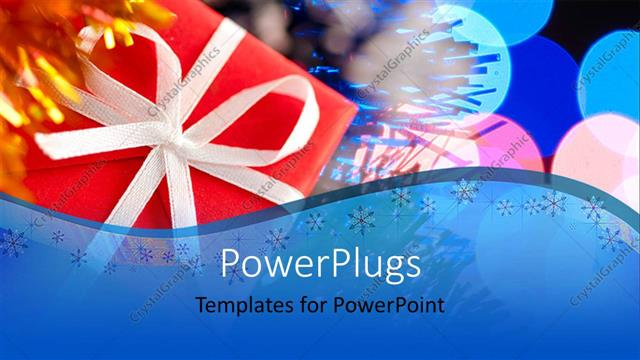 PowerPoint Template Displaying Christmas Gift Box with Colorful Balloons at Christmas