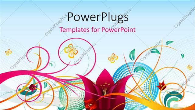 Powerpoint Template Decorative Design Of Colorful Flowers On A
