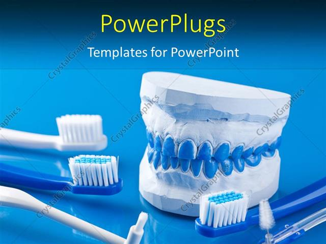Powerpoint template dental molds and toothbrushes with blue color powerpoint template displaying dental molds and toothbrushes with blue color toneelgroepblik Image collections