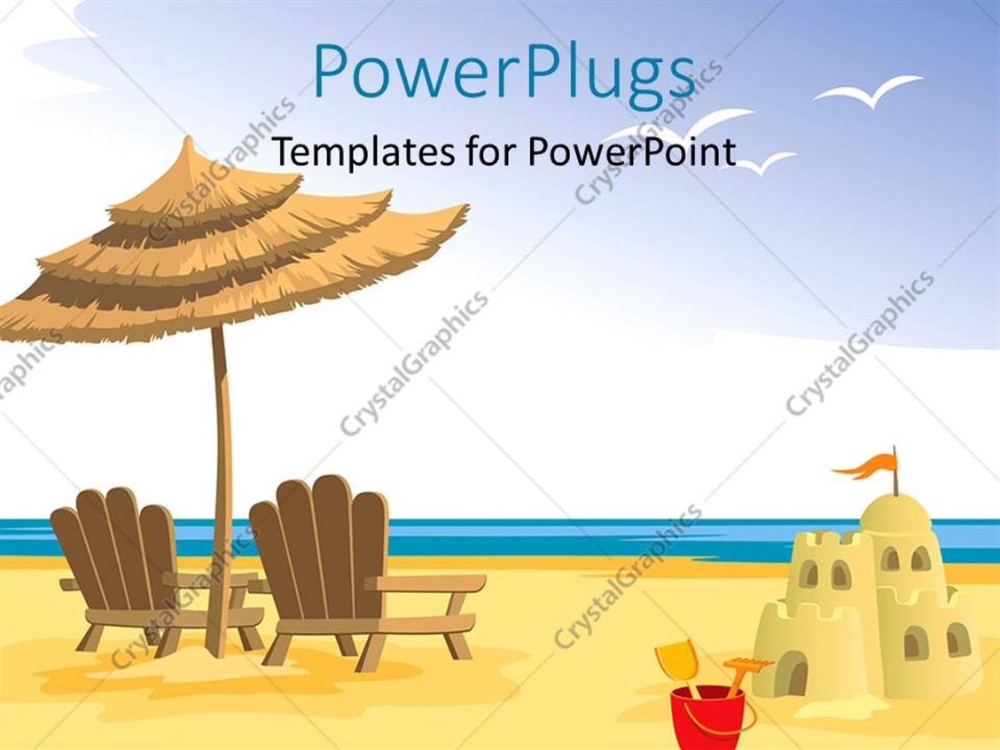 PowerPoint Template: Depiction of beach with chairs and sandcastle ...