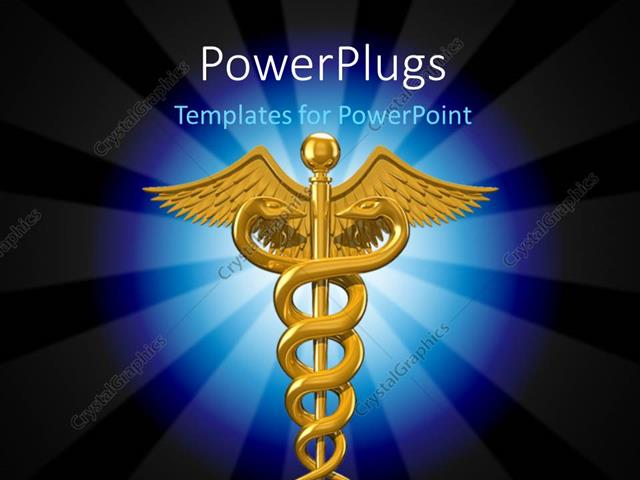Powerpoint Template Depiction Of Caduceus Symbol Used In The