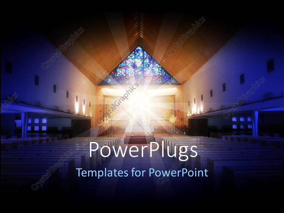 PowerPoint Template Displaying a Depiction of a Church with Holy Light in the Middle of it