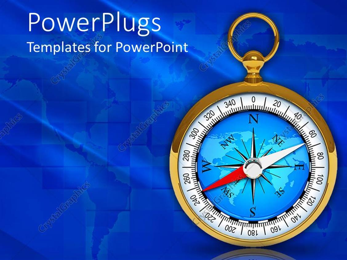 PowerPoint Template Displaying a Depiction of a Compass with Blur Background and Place for Text