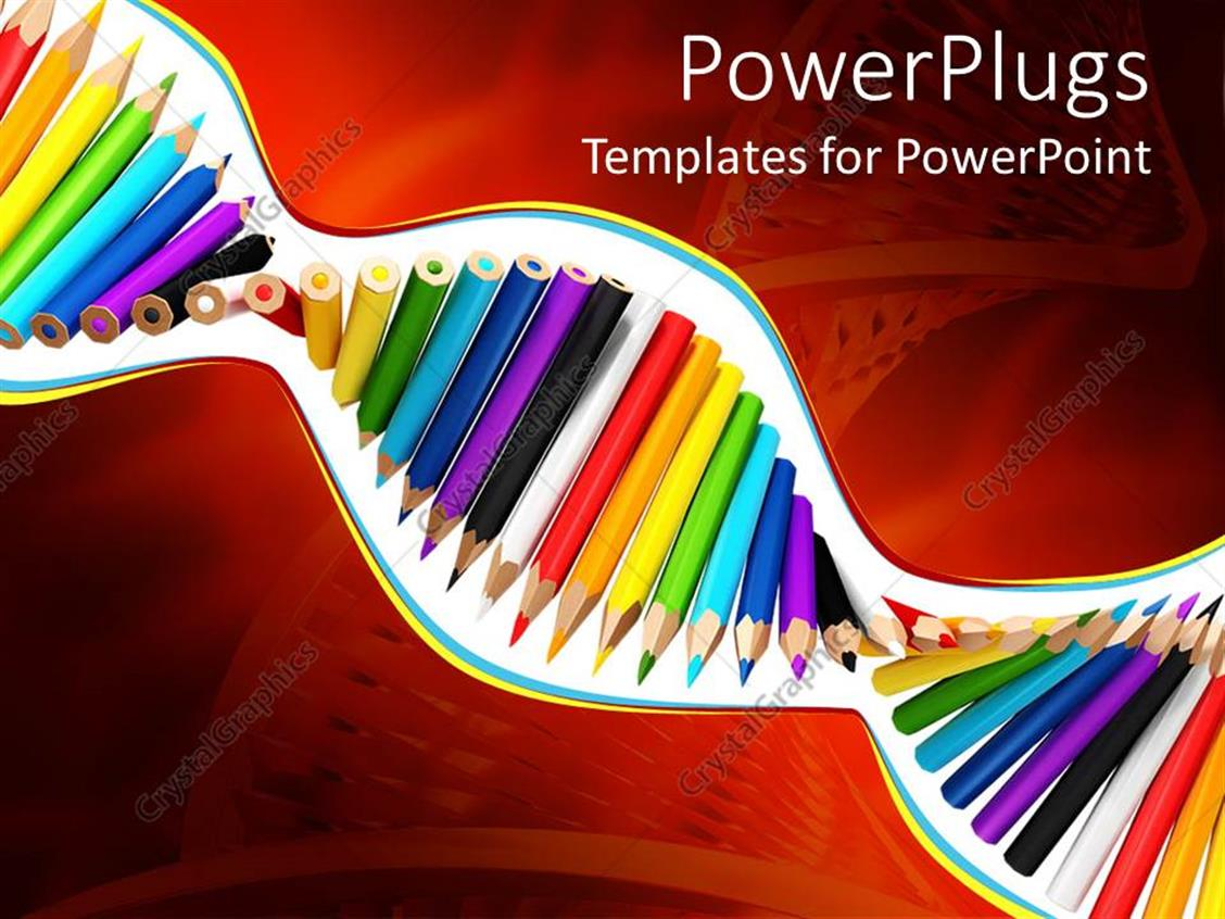 PowerPoint Template Displaying a Depiction of a DNa with Color Pencils in it