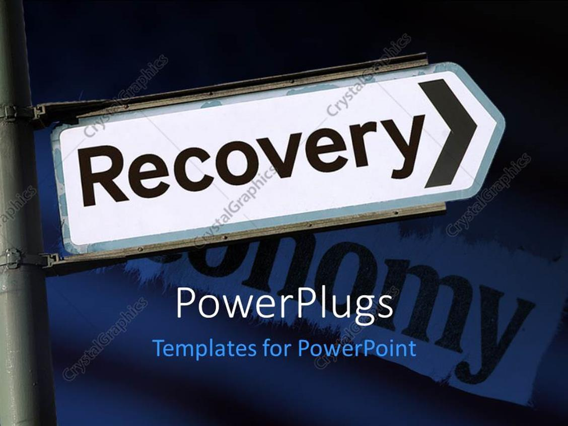 PowerPoint Template Displaying Depiction of Economic Recovery with Signpost Showing Path to Recovery