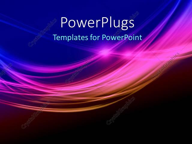 powerpoint template depiction of elegant colorful waves over blue